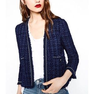 Zara Tweed Blazer Jacket Navy Blue Size Medium